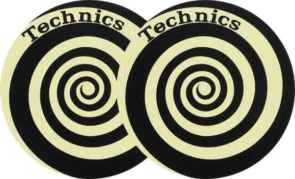 2x Slipmats - Technics Spiral Reflex - gelb_1